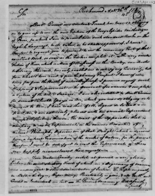 William Hay to Thomas Jefferson, April 26, 1787, Enclosed with John Ammonet Letter of May 10, 1787