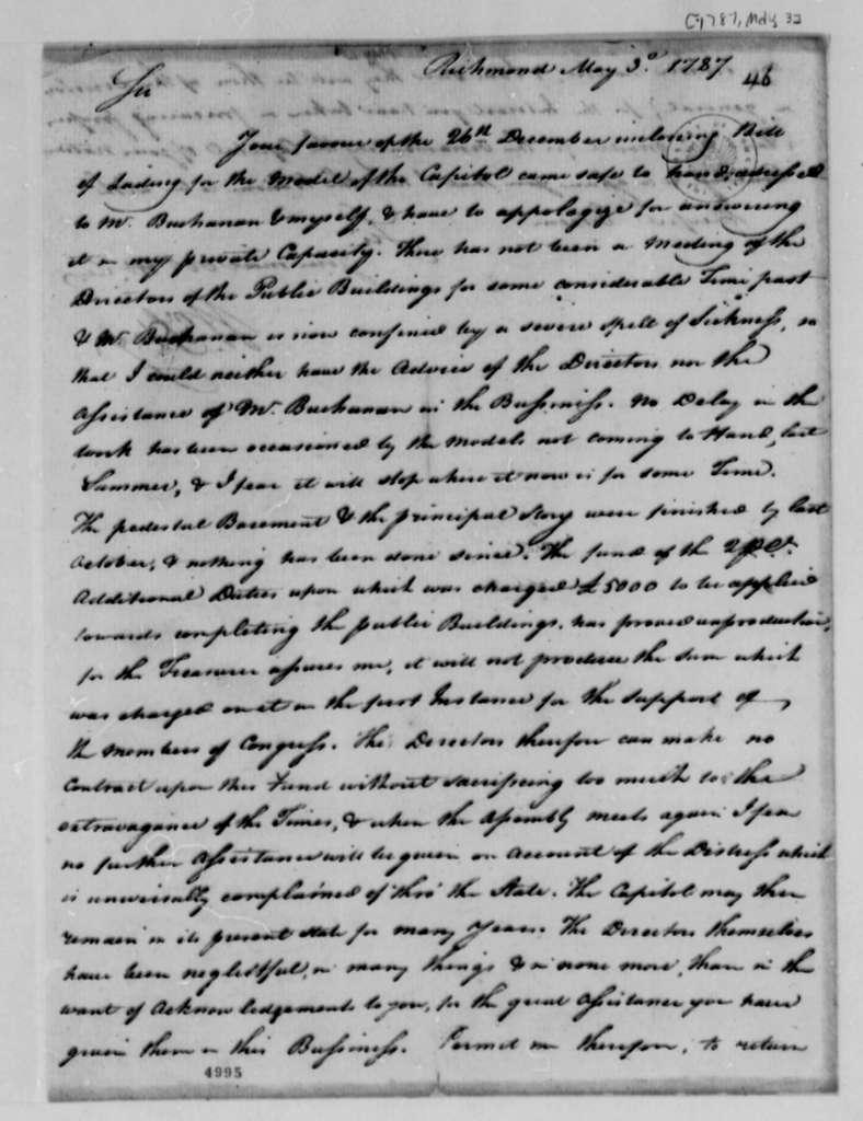 William Hay to Thomas Jefferson, May 3, 1787