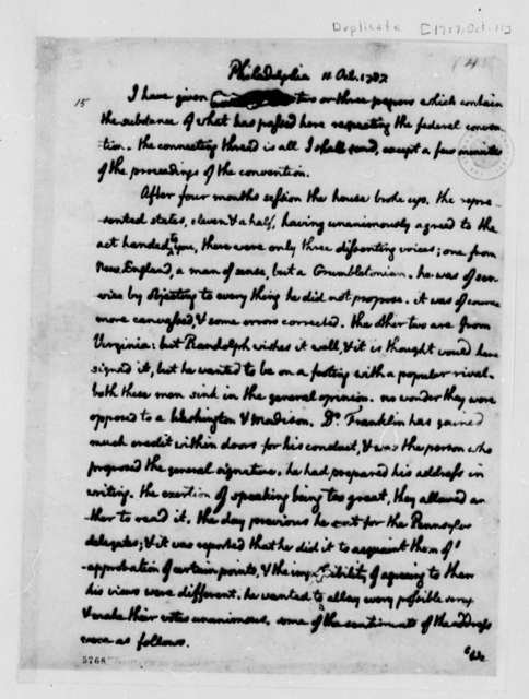 William Lewis to Thomas Lee Shippen, October 11, 1787, with Copy
