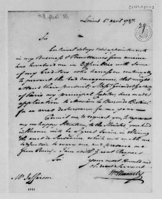 William Macarty to Thomas Jefferson, April 6, 1787