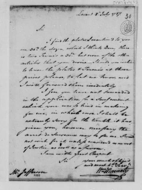 William Macarty to Thomas Jefferson, July 8, 1787