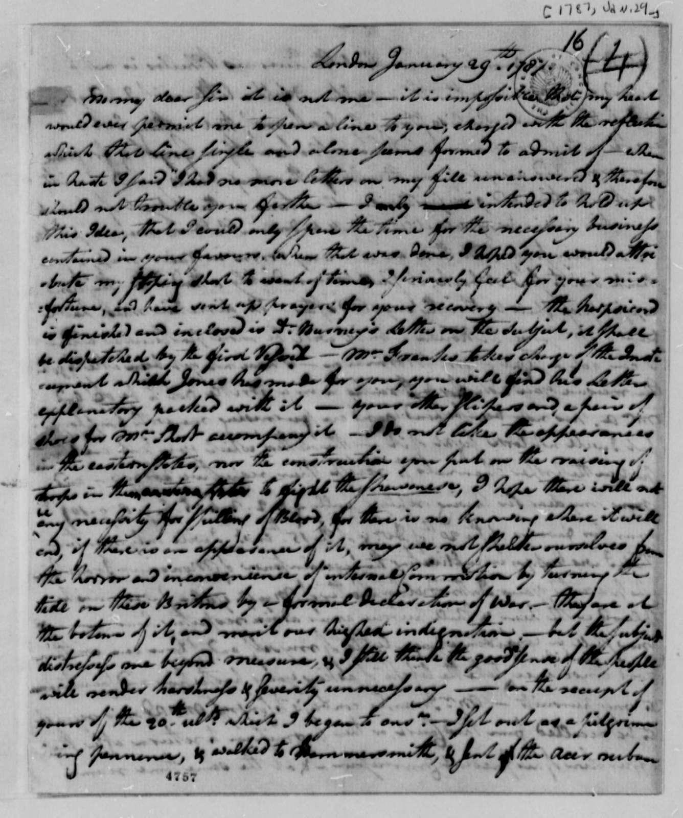 William S. Smith to Thomas Jefferson, January 29, 1787