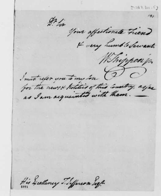 William Shippen Jr. to Thomas Jefferson, December 5, 1787