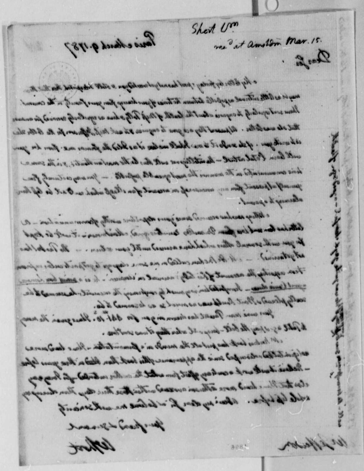 William Short to Thomas Jefferson, March 9, 1787