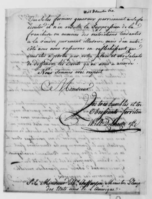 Wilt, Delmestre & Company to Thomas Jefferson, August 3, 1787, in French