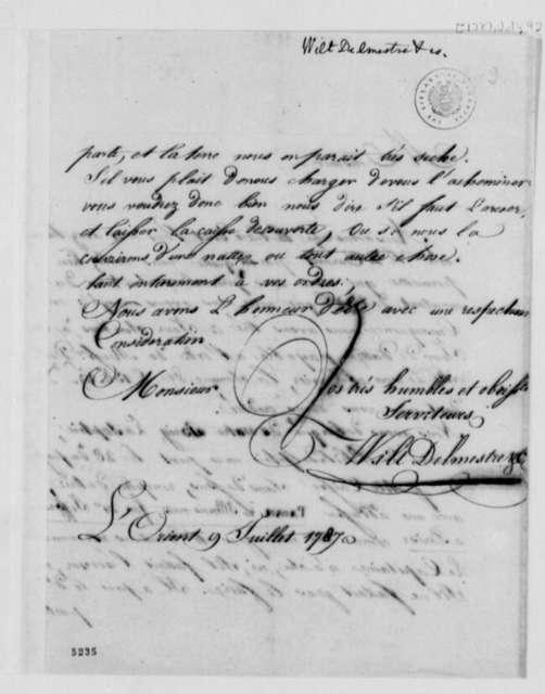 Wilt, Delmestre & Company to Thomas Jefferson, July 9, 1787, in French
