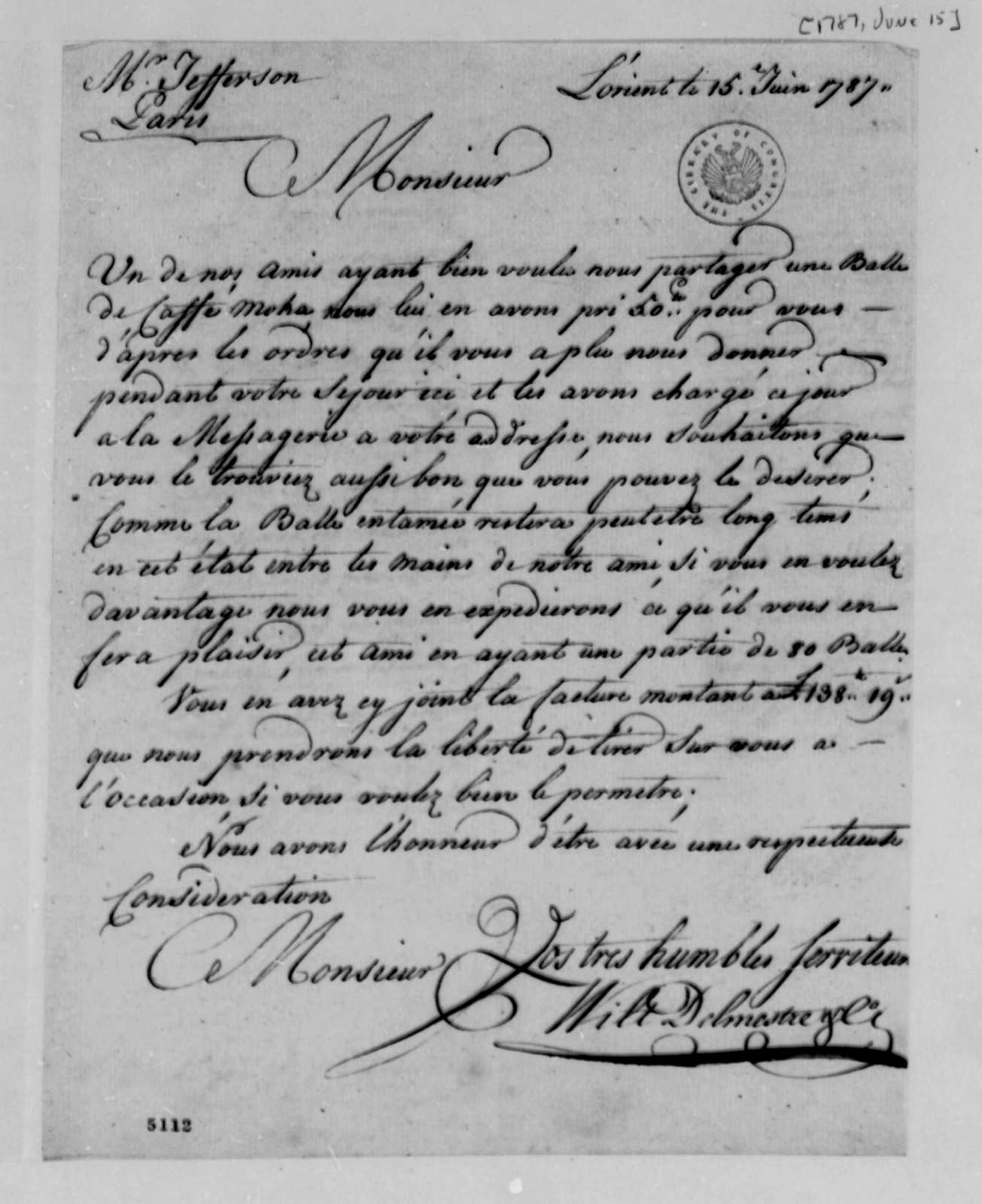 Wilt, Delmestre & Company to Thomas Jefferson, June 15, 1787, with Invoice for Shipment of Mocha Coffee