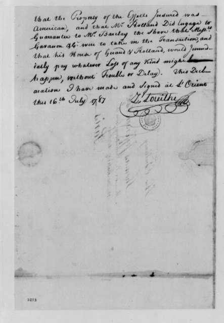 Zachariah Loreilhe to Thomas Jefferson, July 16, 1787