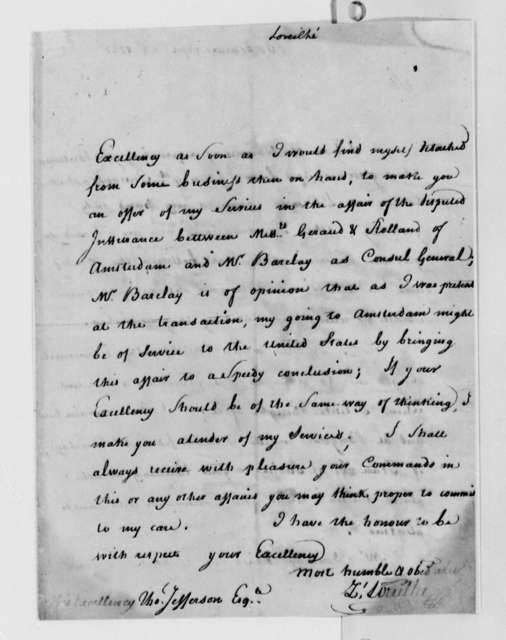 Zachariah Loreilhe to Thomas Jefferson, September 22, 1787