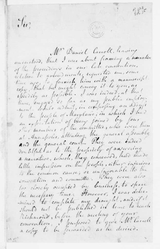Alexander Contee Hanson to James Madison, June 2, 1788.