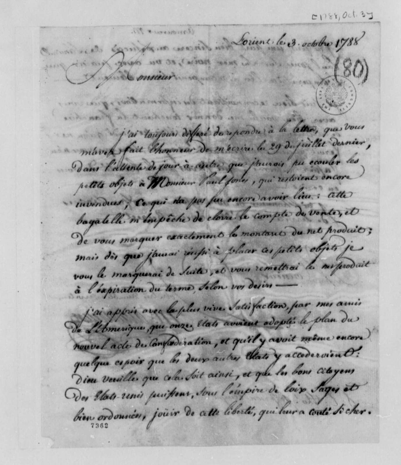 Amoureux to Thomas Jefferson, October 3, 1788, in French