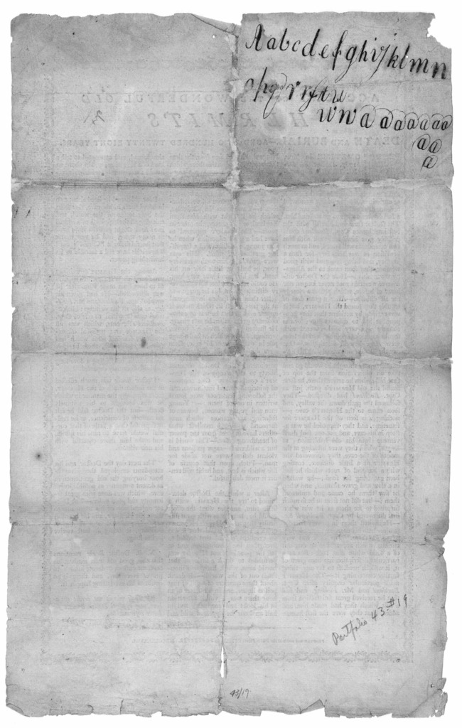An account of the wonderful old hermits death and burial. - aged two hundred twenty eight years ... Printed and sold at the Printing Office in Worcester. MDCCLXXXVIII.