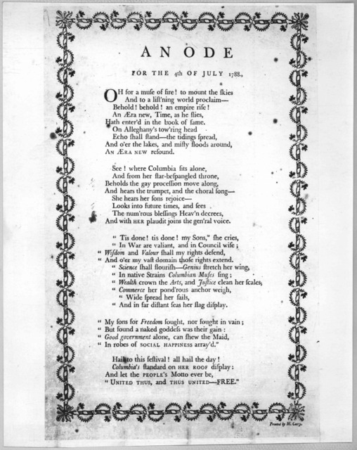 An ode for the 4th of July 1788. [Philadelphia] Printed by M. Carey [1788] [Positive Photostat.].