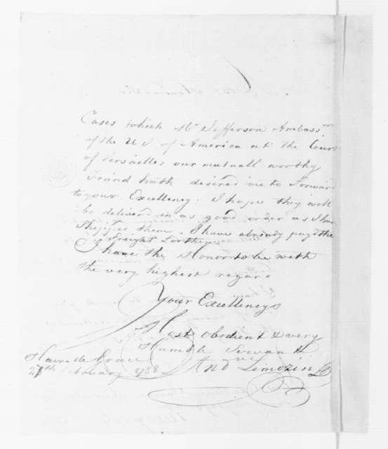André Limozin to James Madison, February 27, 1788.