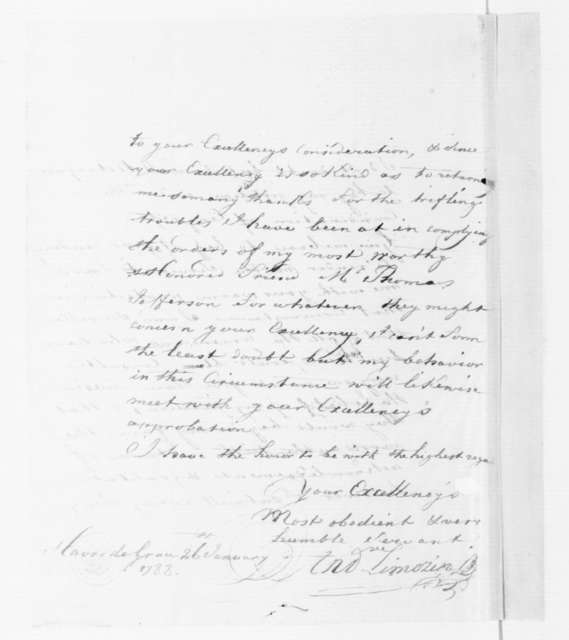 André Limozin to James Madison, January 26, 1788.