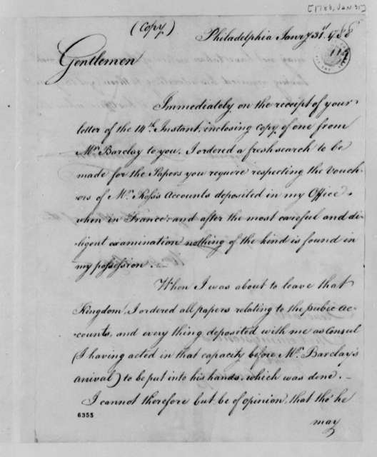 Benjamin Franklin to Treasury Board, January 31, 1788, Request for Documents on Office of the Commissioners of Foreign Accounts