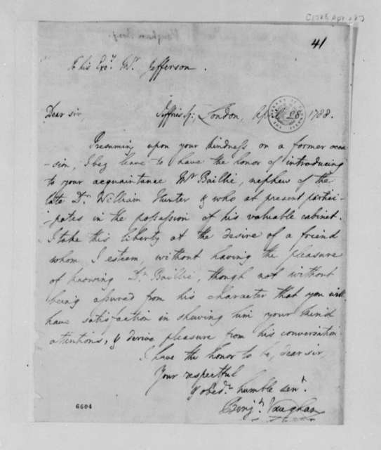 Benjamin Vaughan to Thomas Jefferson, April 28, 1788, Letter of Introduction for Baillie
