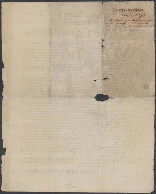 By the United States in Congress assembled, a proclamation : Whereas the United States in Congress assembled, by their commissioners duly appointed and authorized, did on the twenty-eighth day of November, one thousand seven hundred and eighty-five, at Hopewell on the Keowee, conclude articles of a treaty with all the Cherokees ...
