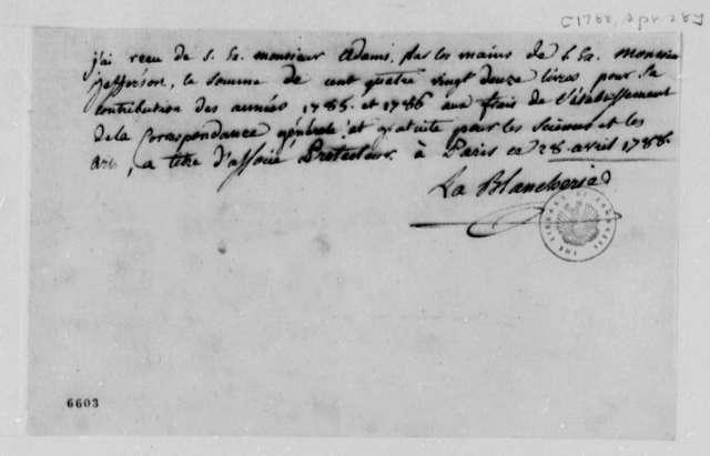 C. P. C. La Blancherie to John Adams, April 28, 1788, in French
