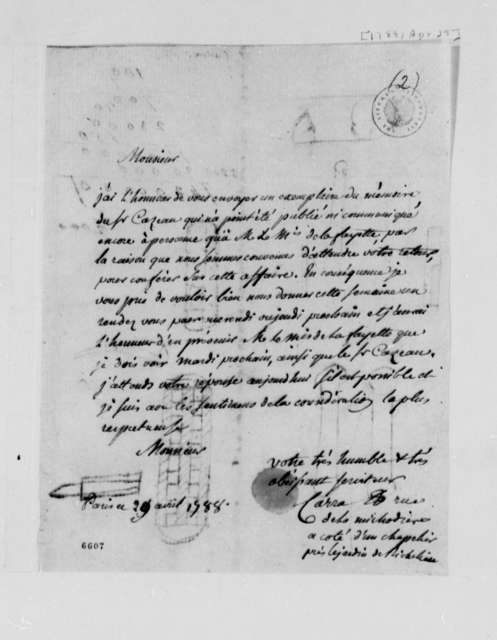 Carra to Thomas Jefferson, April 29, 1788, in French; with Mathematical Notation and Unidentified Drawings on Verso