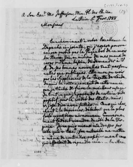 Charles William Frederic Dumas to Thomas Jefferson, February 5, 1788, in French