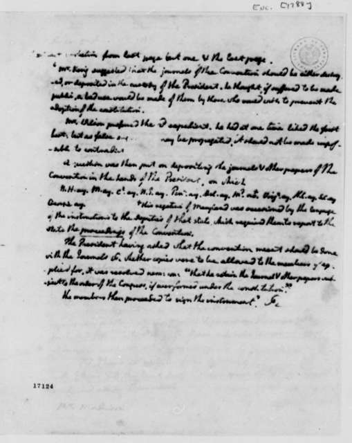 Constitutional Convention Journal, 1788, with Letter to Madison Dated April 17, 1796
