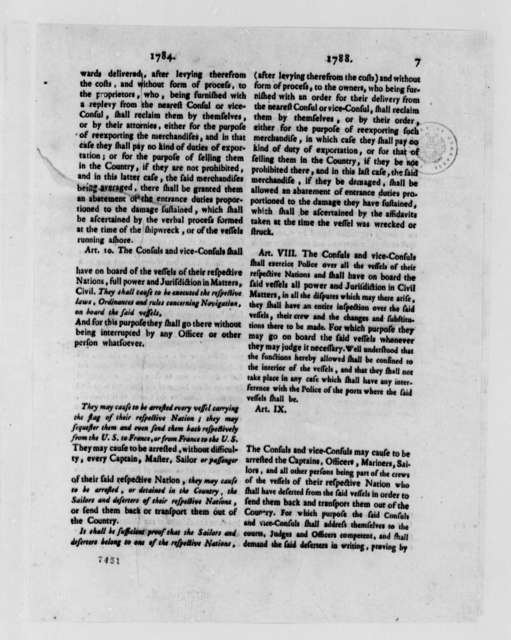 Consular Convention Between the United States and France, November 14, 1788, Printed Comparison of 1784 and 1788 Consular Conventions; Printed in English