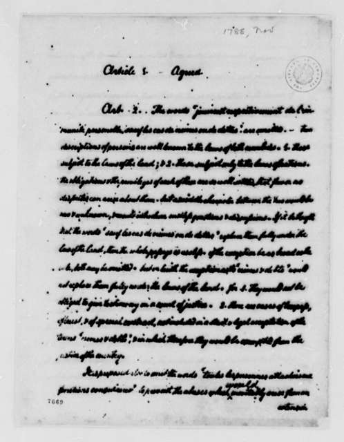 Consular Convention Between the United States and France, September 1788, Thomas Jefferson's Observations on Alterations to Consular Convention