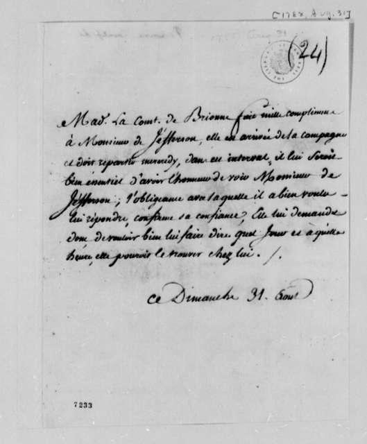 Countess de Brionne to Thomas Jefferson, August 31, 1788