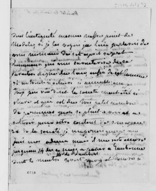 Countess d'Houdetot to Thomas Jefferson, July 7, 1788, in French