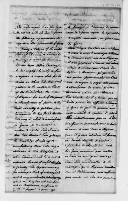Daniel Parker to French Government, May 8, 1788, in English and French