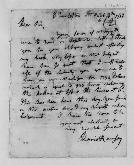 David Ramsay to Thomas Jefferson, October 8, 1788