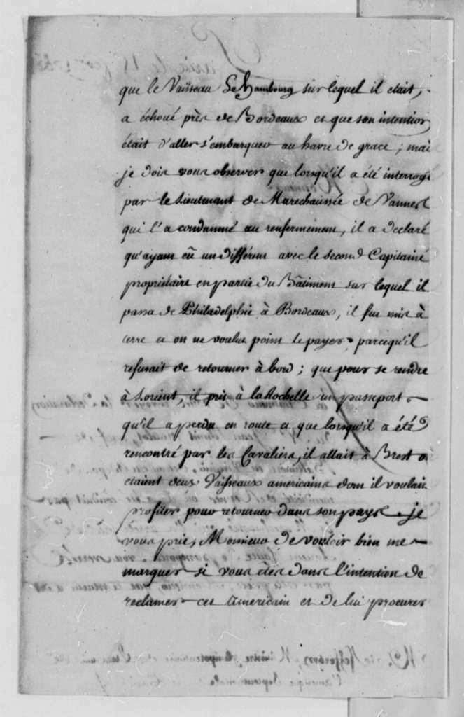 De Bertrand to Thomas Jefferson, February 15, 1788, with Rennes Workhouse Declaration on Jean Schmit; Printed in French