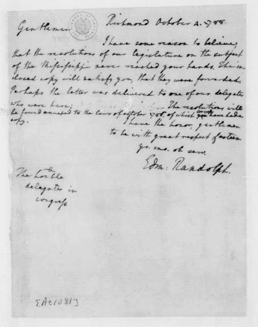 Edmund Randolph to Virginia Congressional Delegates, October 4, 1788.