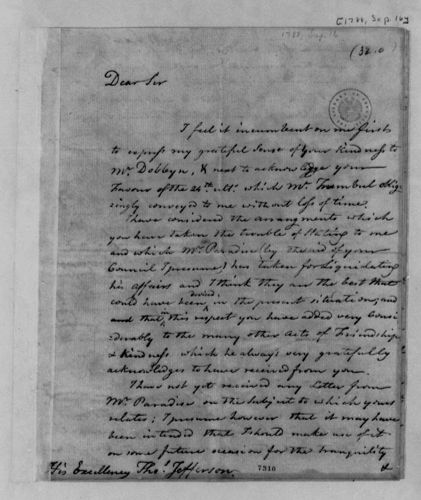 Edward Bancroft to Thomas Jefferson, September 16, 1788