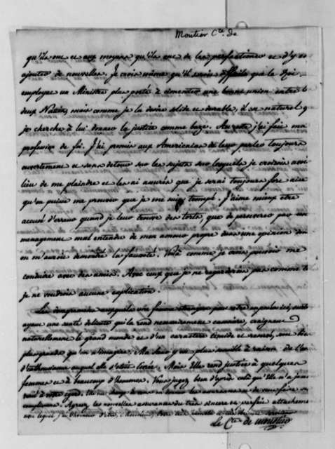 Eleonore Francois Elie, Comte de Moustier to Thomas Jefferson, October 17, 1788, in French