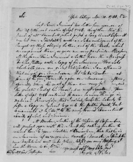 Ezra Stiles to Thomas Jefferson, April 30, 1788