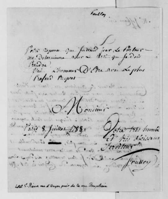 Foulloy to Thomas Jefferson, July 8, 1788, Silas Deane's Books; in French