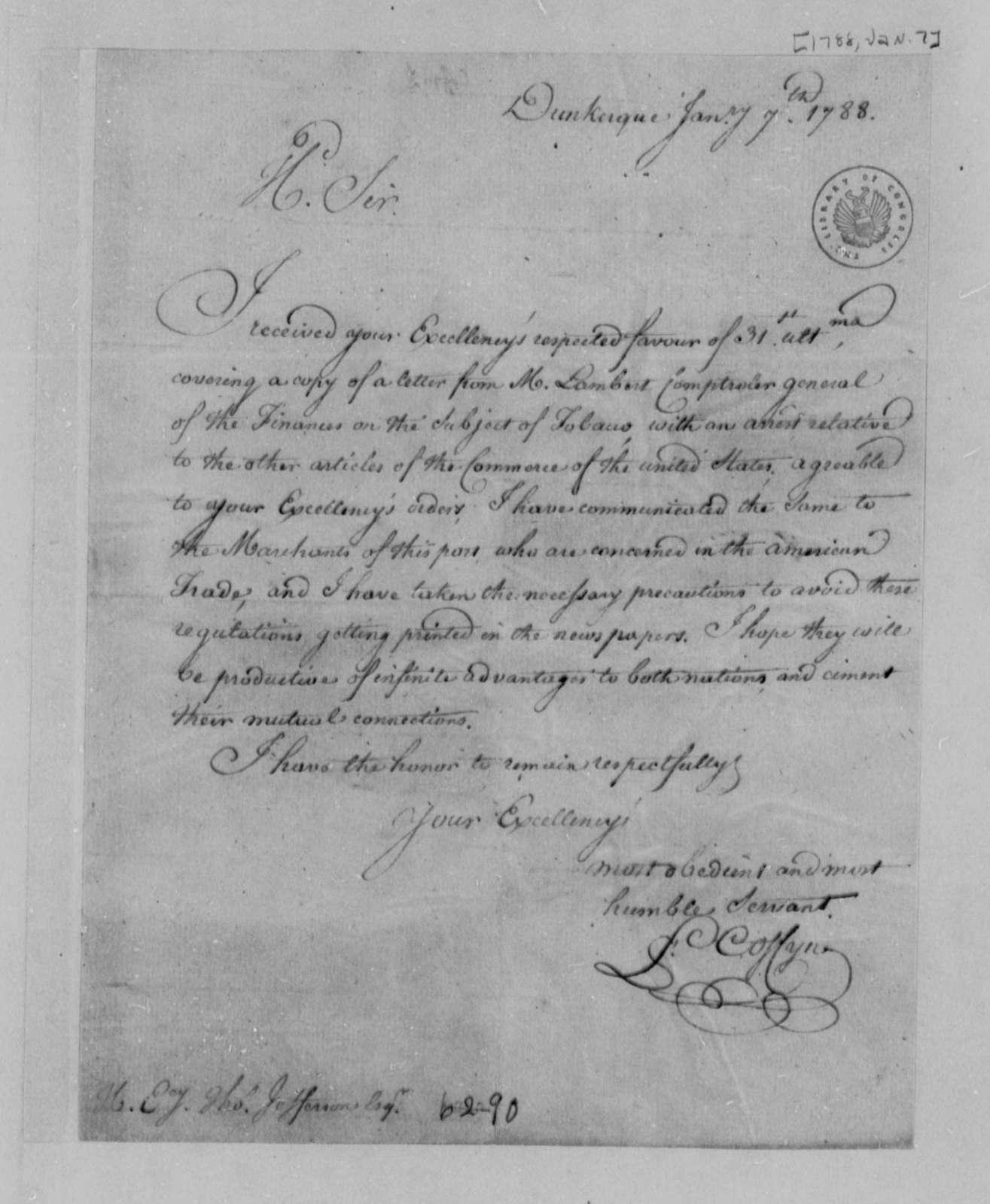 Francis Coffyn to Thomas Jefferson, January 7, 1788