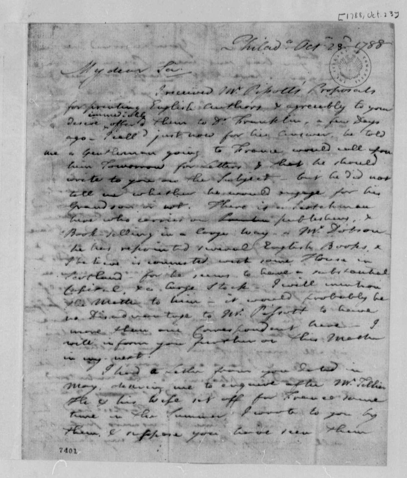 Francis Hopkinson to Thomas Jefferson, October 23, 1788