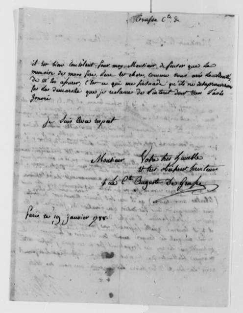 Francois Joseph Paul, Comte de Grasse to Thomas Jefferson, January 19, 1788, in French