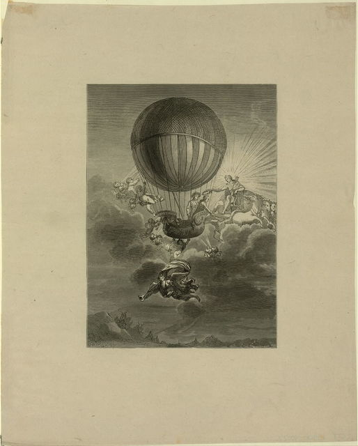 [French balloonist Jacques Alexandre César Charles receiving a wreath from Apollo, while cherubs and an angel surround his balloon] / E.A. Tilly, sc. ; Nageon[?], inv. & del. 1788.