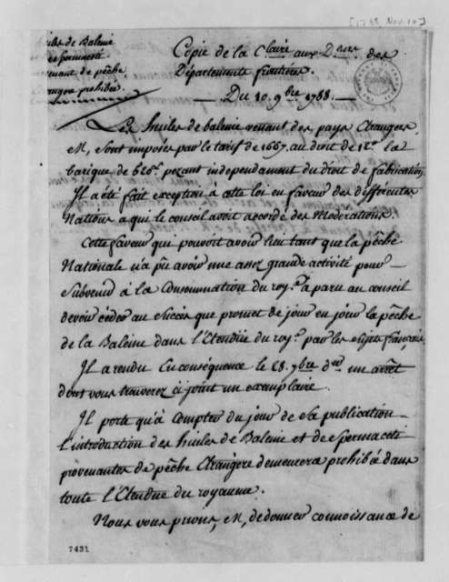 Frontier Department of France, November 10, 1788, Regulations on Whale Oil Trade; in French