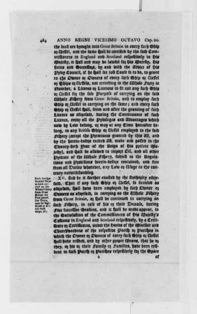 George III, King of England, 1788, Whale Fishing and Trade Regulations; Printed Proceedings
