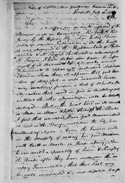 """George Morgan to """"A Gentleman Farmer in Virginia"""", July 31, 1788, Agriculture; Hessian Fly and Yellow Bearded Wheat"""