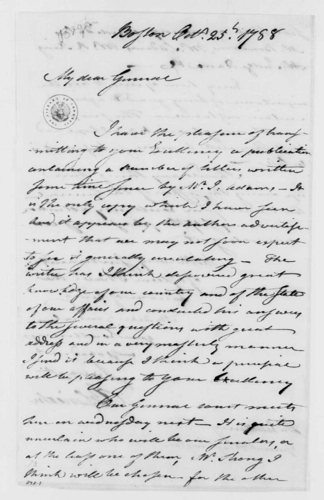 George Washington Papers, Series 4, General Correspondence: Benjamin Lincoln to George Washington, October 25, 1788