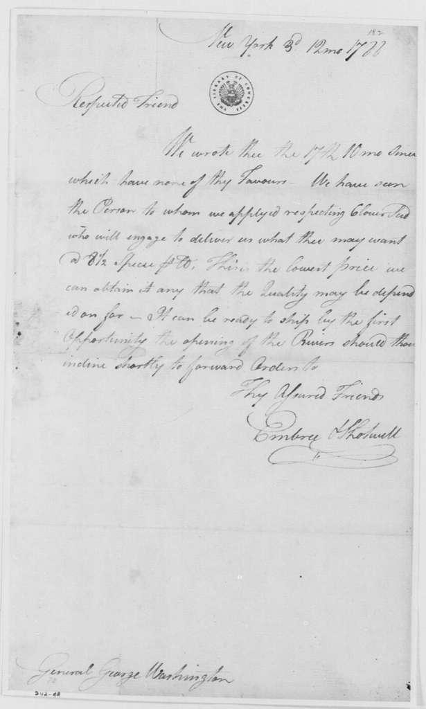 George Washington Papers, Series 4, General Correspondence: Embree & Shotwell to George Washington, December 3, 1788