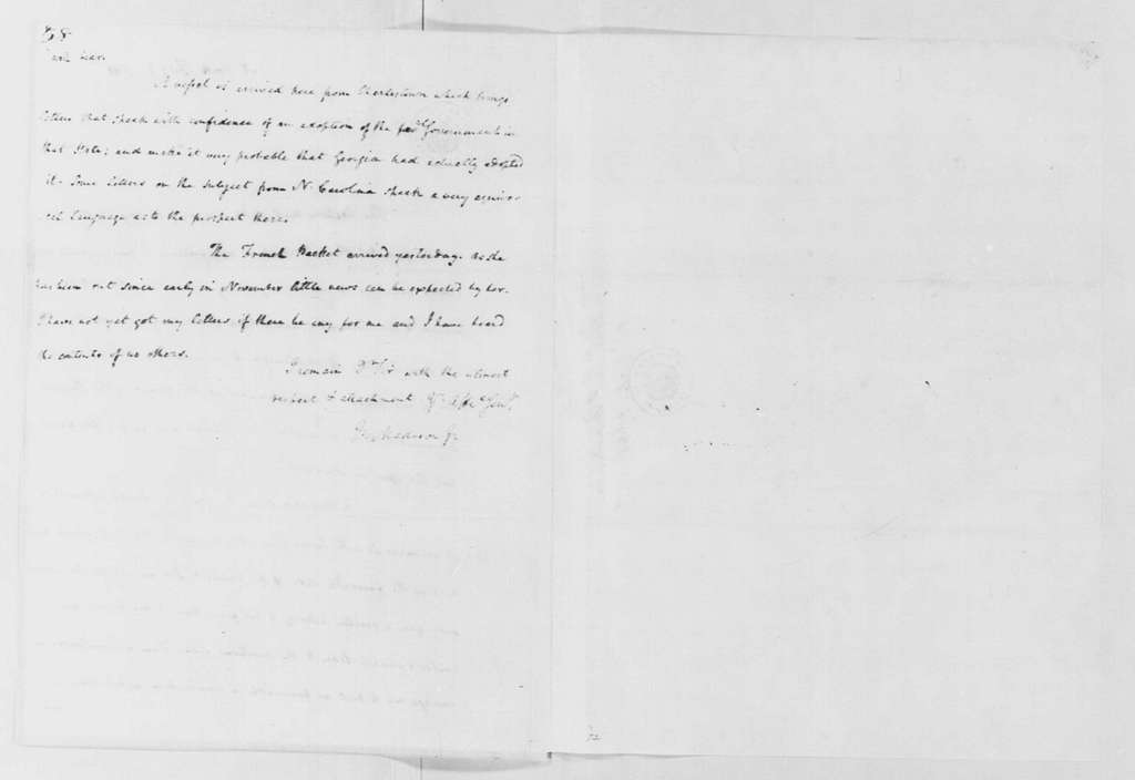 George Washington Papers, Series 4, General Correspondence: James Madison Jr. to George Washington, February 1, 1788