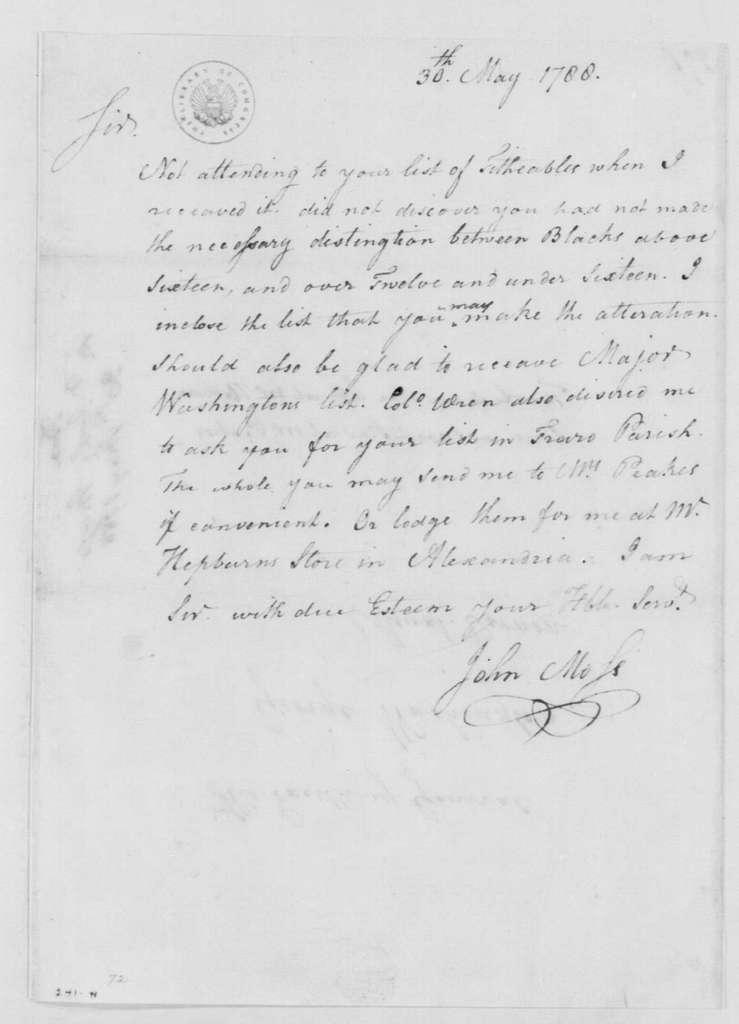 George Washington Papers, Series 4, General Correspondence: John Moss to George Washington, May 30, 1788