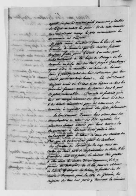 J. J. Berard & Company, 1788, Report for Thomas Jefferson on Rice Commerce; in French